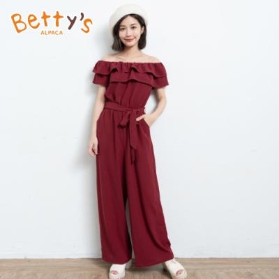 betty's貝蒂思 荷葉一字領收腰連身褲裝(暗紅色)