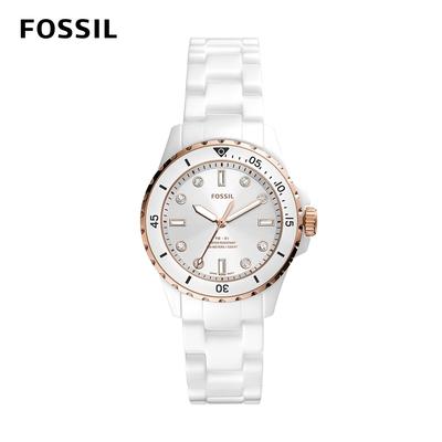 FOSSIL FB-01 白色面板清新水鬼女錶 白色陶瓷錶帶 35MM CE1107