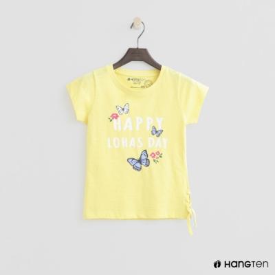 Hang Ten -童裝 - 有機棉-可愛圖樣側抽繩短袖T - 黃