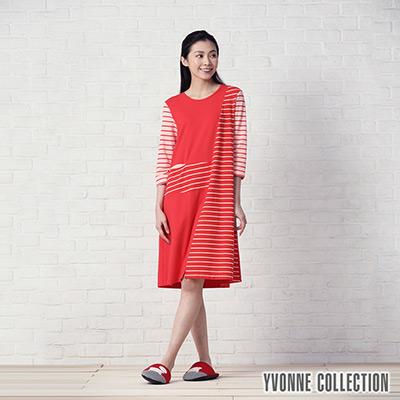 YVONNE條紋拼接七分袖洋裝- 紅