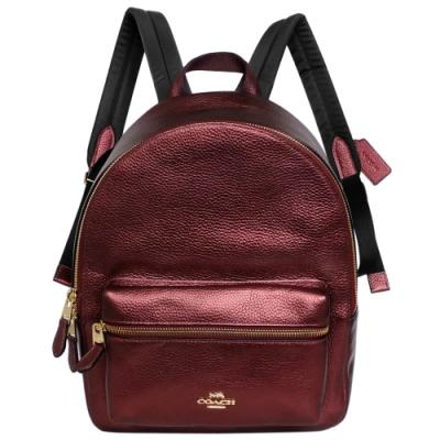COACH MEDIUM CHARLIE金屬紅全皮中款後背包