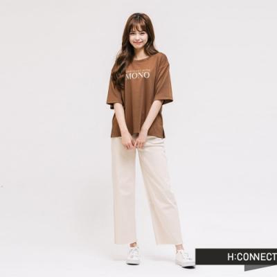 H:CONNECT 韓國品牌 女裝 - 簡約文字T-shirt-棕