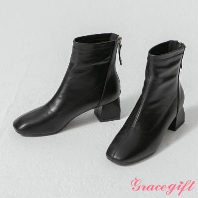 Grace gift-韓系方頭造型粗跟靴 黑