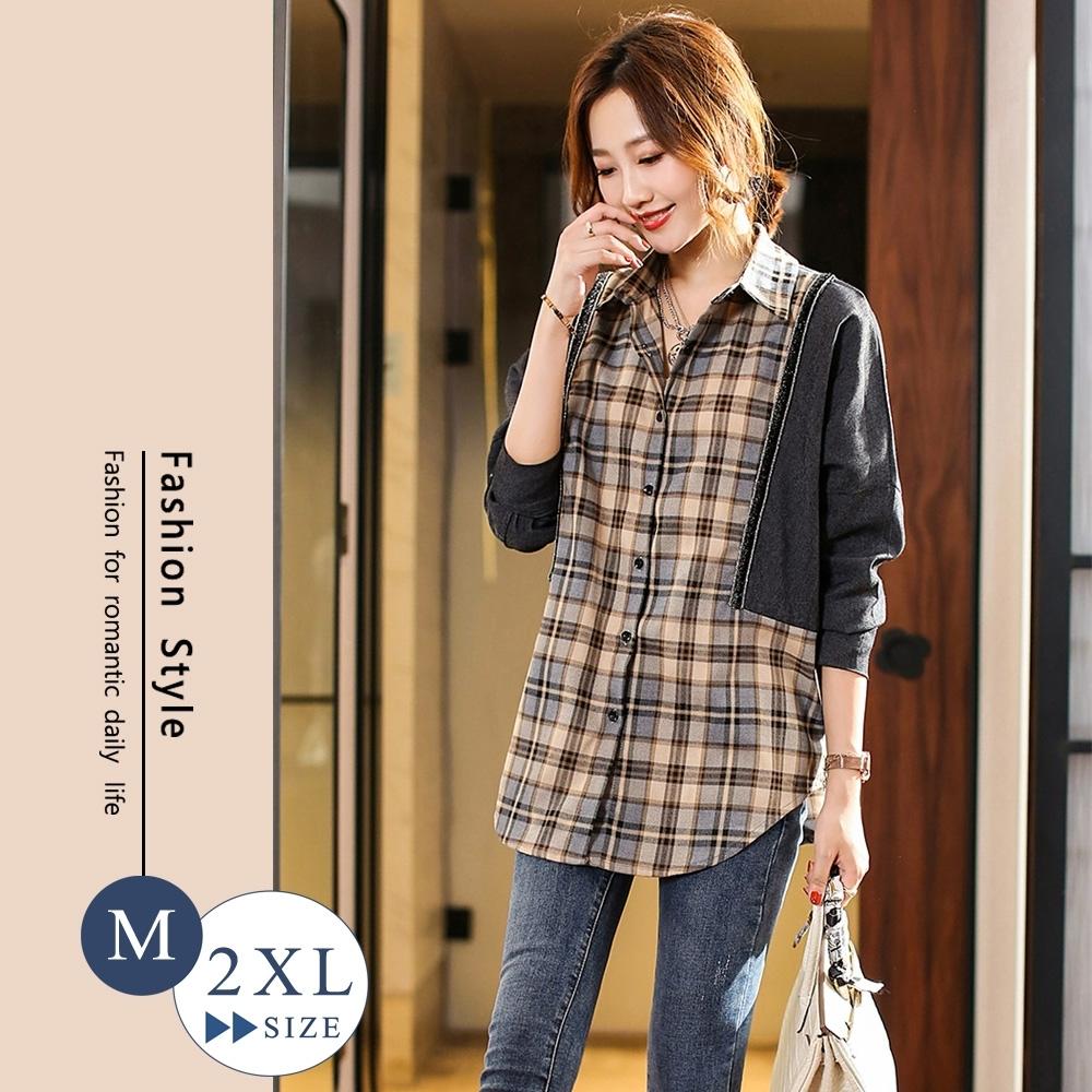 悠美學-韓系中大碼牛仔格子拼接造型上衣-灰格(L-2XL)