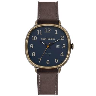 Hush Puppies 美式經典皮革手錶(HP3878)-古銅殼x藍/44 mm