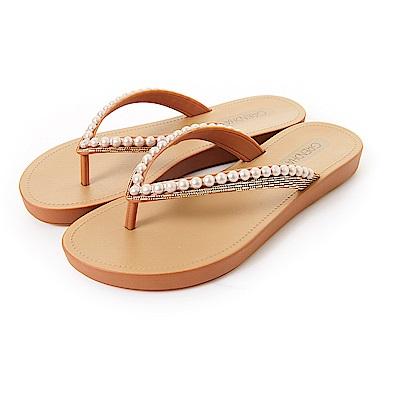 GRENDHA 珍珠人字帶夾腳鞋-牛奶糖色