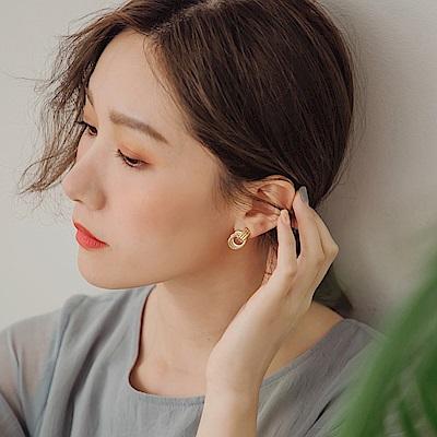 純色螺旋雙環耳針式耳環-OB大尺碼