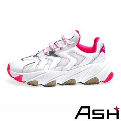 ASH-EXTREME時尚潮流波浪纹拼接增高厚底老爹鞋-果凍粉