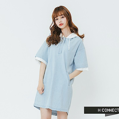 H:CONNECT 韓國品牌 女裝-連帽拼接抽繩洋裝-藍