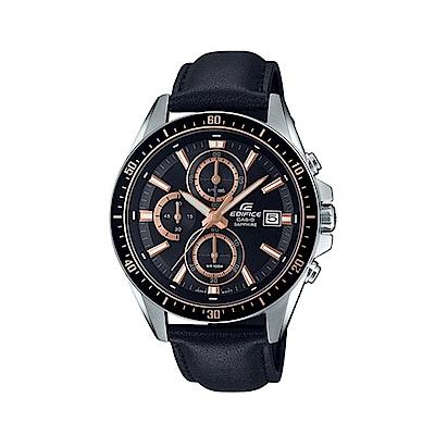 CASIO 卡西歐 EDIFICE系列 競速賽車三眼計時手錶-黑x玫瑰金/44.1mm
