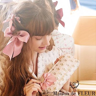 Maison de FLEUR 甜美花朵蝴蝶結絲帶化妝包