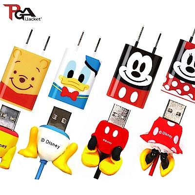 迪士尼 大臉系列 AC充電器+ Lightning傳輸線 組合