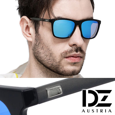 DZ 崇尚獨具 抗UV 防曬偏光 太陽眼鏡墨鏡(黑框冰藍膜)