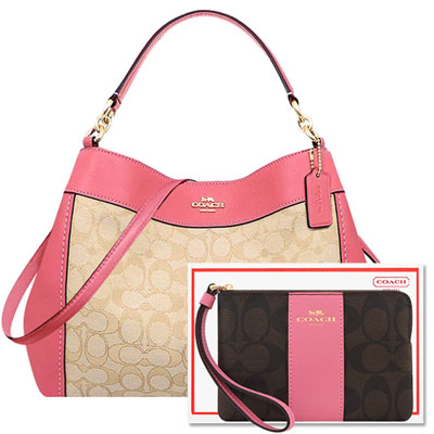 COACH 蜜桃粉色大C織紋斜背/側肩兩用包+COACH 玫瑰粉色大C PVC手拿包