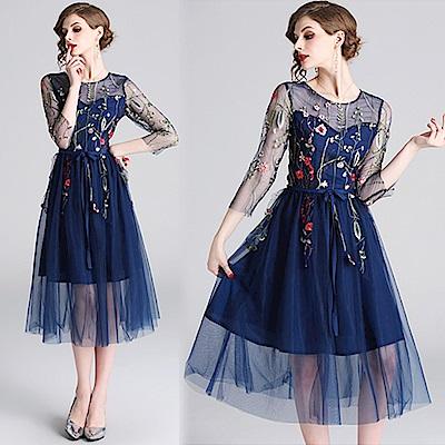 【KEITH-WILL】輕柔美姬物語刺繡高級洋裝