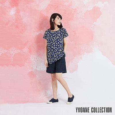YVONNE 手繪小花印花不對稱下矲上衣-藍