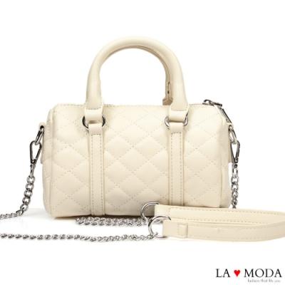 La Moda 熱銷不敗小香風菱格紋車線肩背斜背大容量手提波士頓包(白)