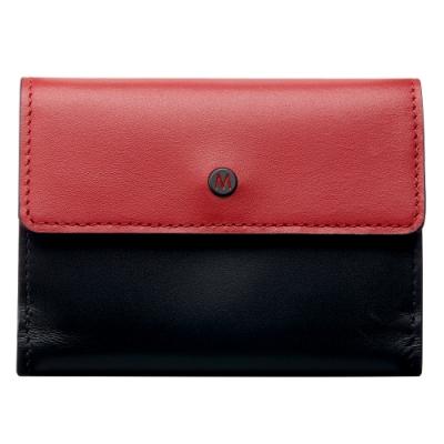 MONDAINE 瑞士國鐵 三折式名片零錢包-紅黑
