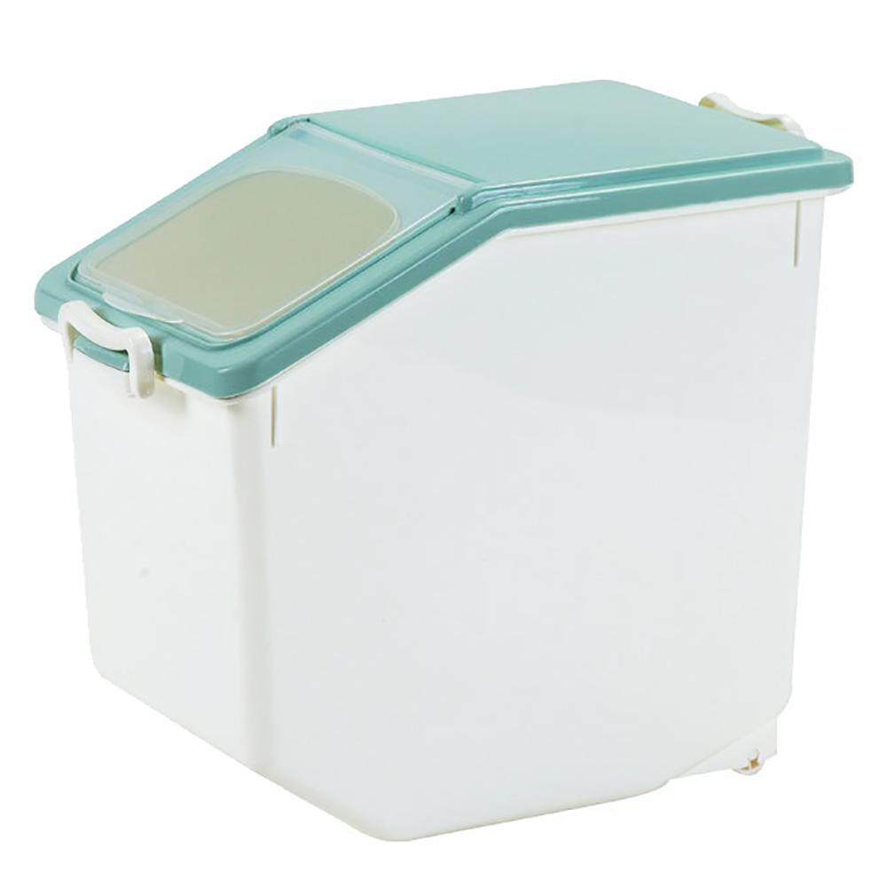 【日居良品】大容量掀蓋式保鮮防潮密封式儲米桶/寵物飼料桶-大型15KG(附量米杯)