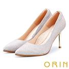 ORIN 晚宴婚嫁首選 素面尖頭金屬高跟鞋-銀色