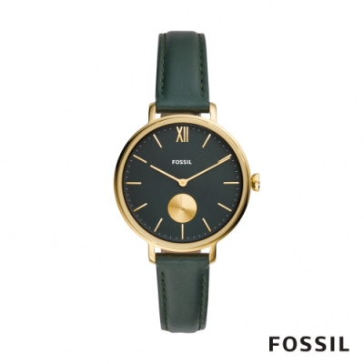 FOSSIL KAYLA 氣質金色雲杉綠皮革女錶 36mm ES4662