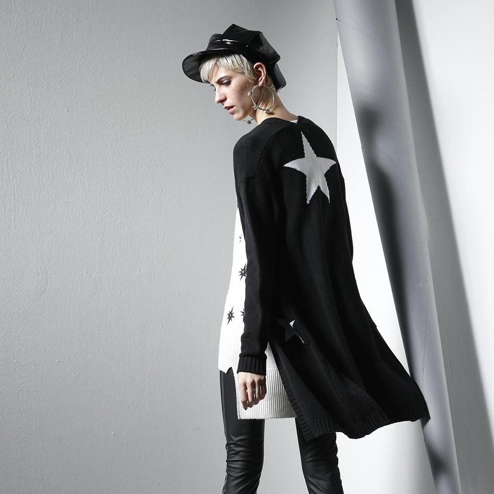 ICHE衣哲 時尚個性星星印花長版針織造型外套-黑