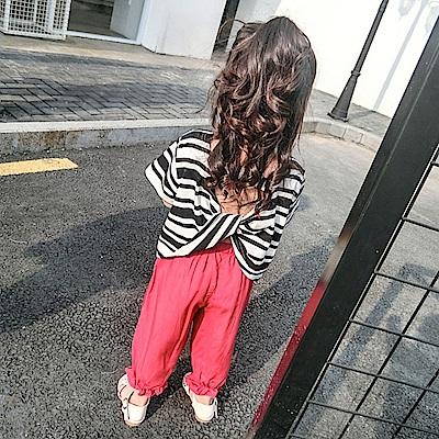 小衣衫童裝   女童時尚粗細黑白條紋露背短袖上衣1070526