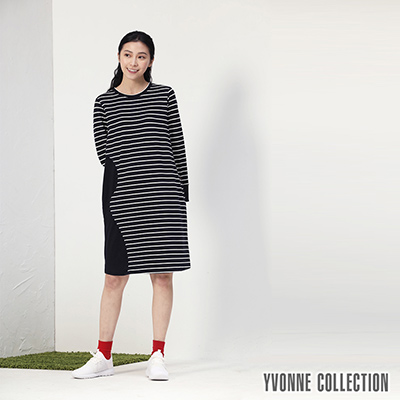 YVONNE條紋幾何拼接長袖洋裝