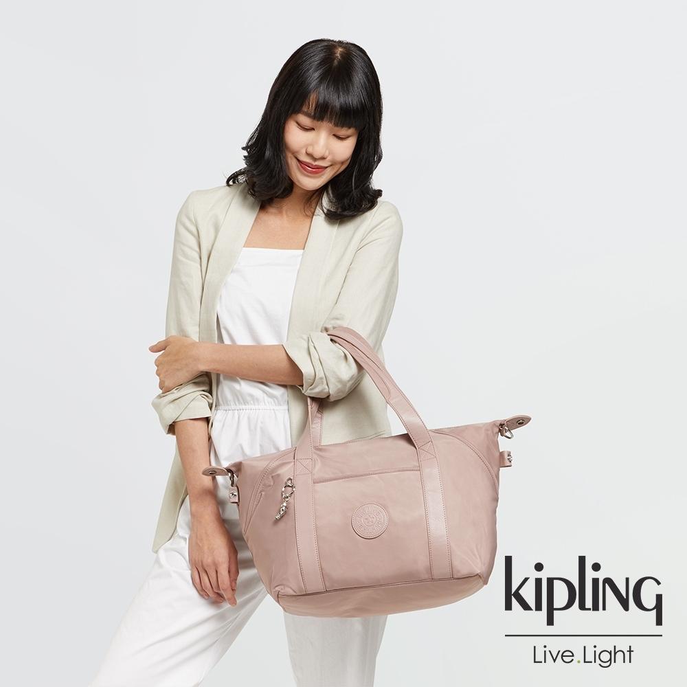 Kipling 溫柔沉穩粉手提側背包-ART