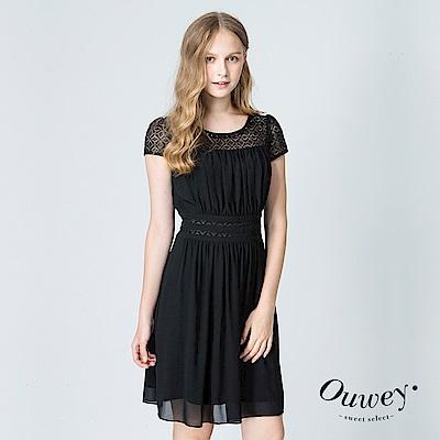 OUWEY歐薇 氣質女神雪紡蕾絲洋裝(黑)