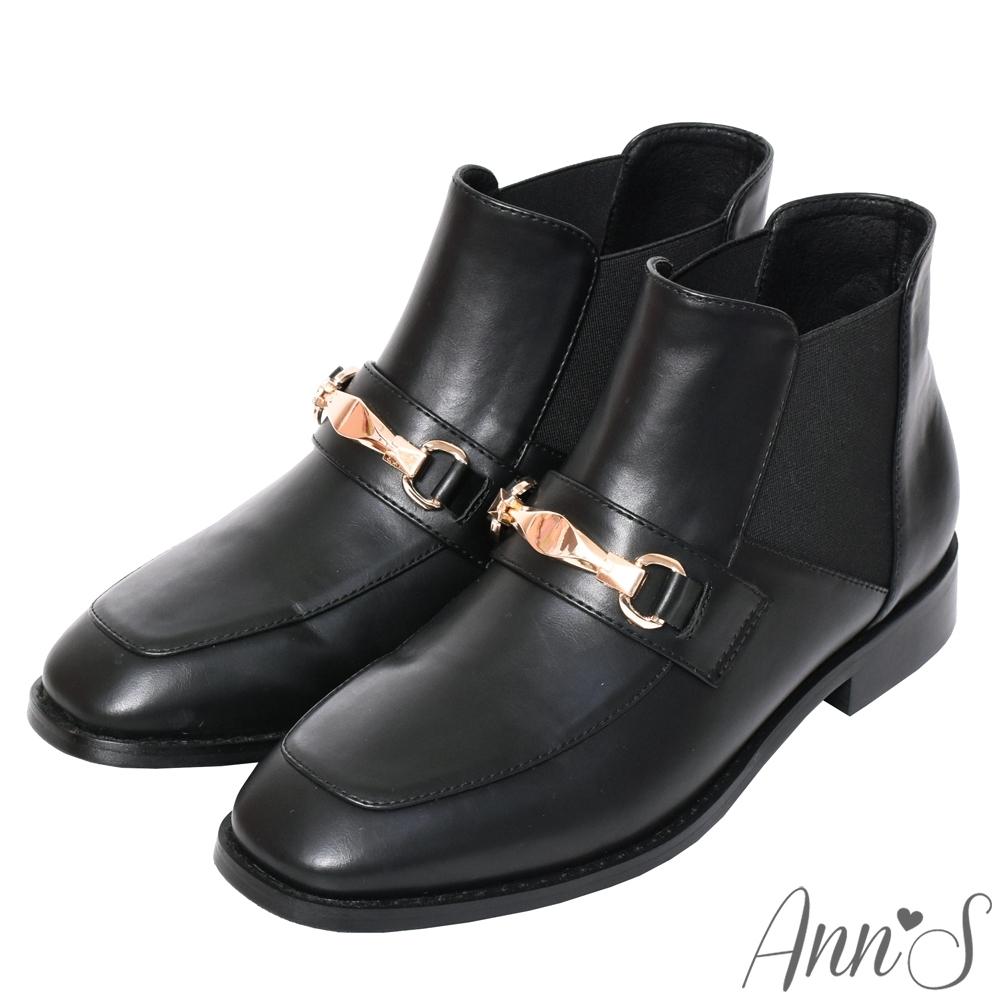 Ann'S訂製金釦彈力鬆緊切爾西平底短靴-黑(版型偏小)
