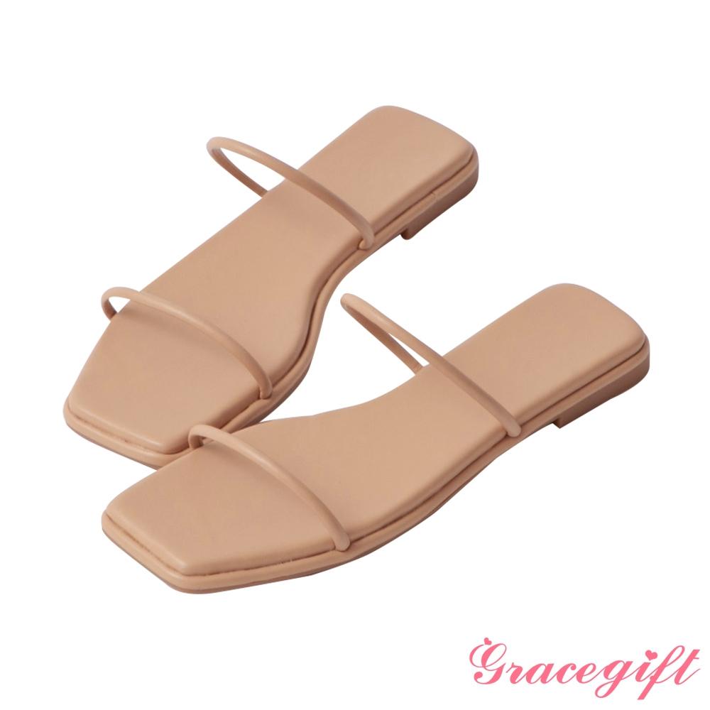 Grace gift-一字細帶平底涼拖鞋 杏