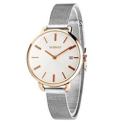 MANGO 經典米蘭帶腕錶-玫瑰金*銀/32mm