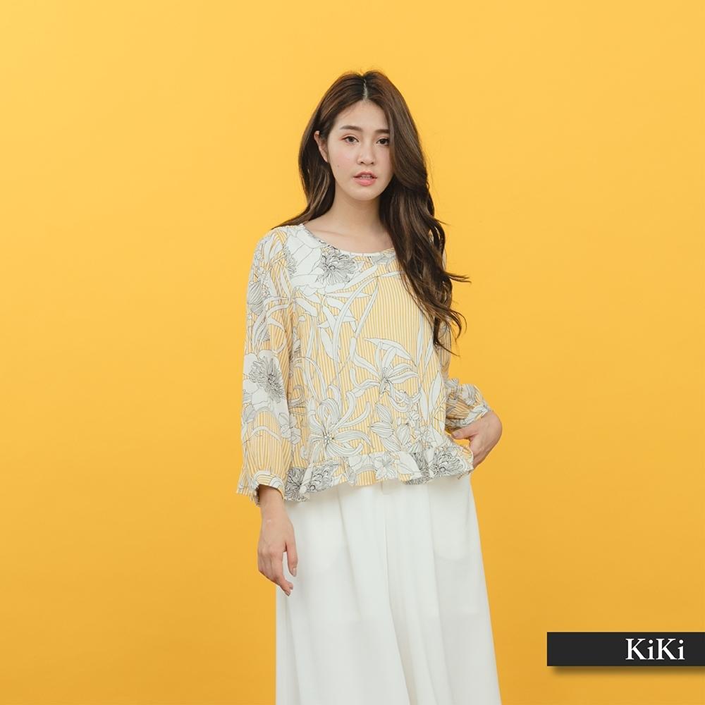 【KiKi】浪漫雪紡碎花-上衣(二色)