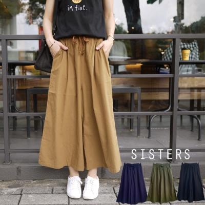 很顯瘦舒適的素面棉麻闊腿寬褲裙/加大共四色 SISTERS