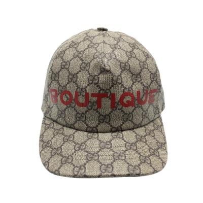 GUCCI Bontique logo Supreme 帆布棒球帽(624478-烏木)