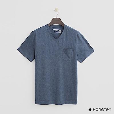 Hang Ten - 男裝 - 有機棉-小口袋V領素面T恤 - 灰藍