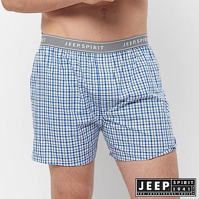 JEEP 五片式剪裁 純棉平口褲-淺藍格紋