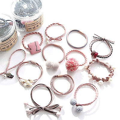 E-dot 氣質毛球珍珠髮飾髮圈12件盒裝組(粉色)