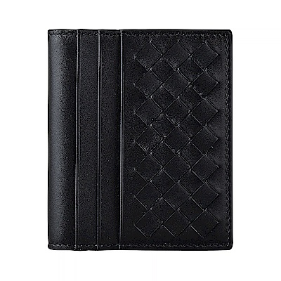 BV BOTTEGA VENETA經典編織設計6卡小牛皮對折卡片夾(黑)