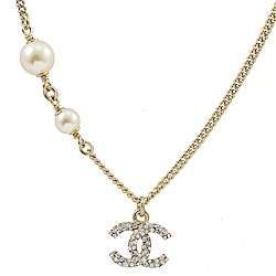 CHANEL 經典雙C水鑽墜飾珠珠金銀拼色項鍊