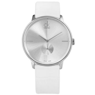 CK Uhren Accent 獨立秒針 瑞士機芯 壓紋皮革手錶-銀x白/40mm