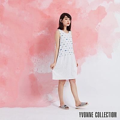 YVONNE 魚魚印花拼接無袖洋裝-淺淺灰
