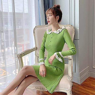 DABI 韓系針織毛衣時尚拼接長版娃娃領長袖洋裝