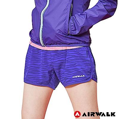 【AIRWALK】女款印花運動短褲-深紫