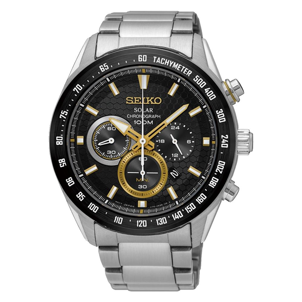 SEIKO 精工Criteria 太陽能 競速賽車三眼計時運動錶-V175-0EE0K S