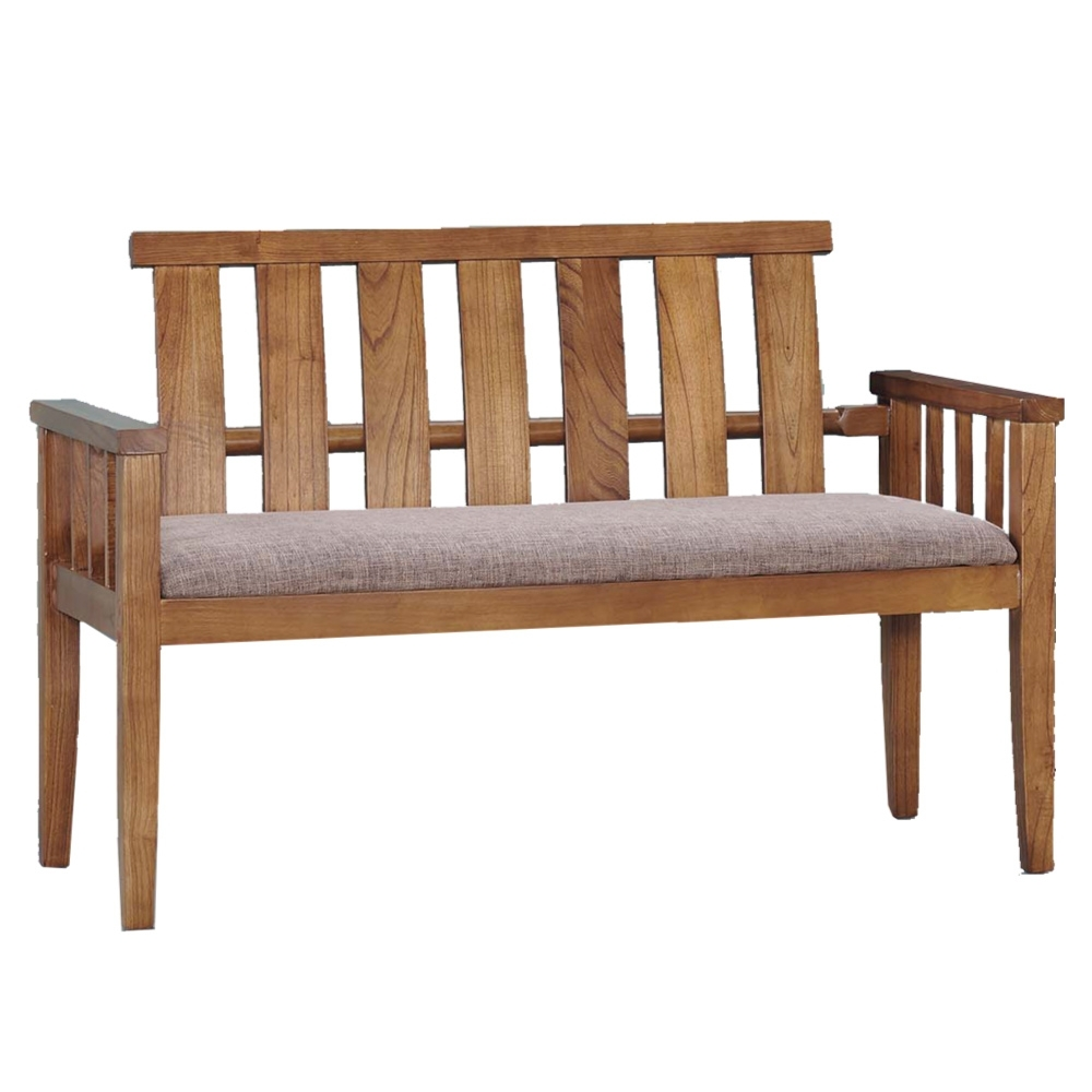 文創集 達西亞麻布二人座實木沙發椅-119x56x82.5cm免組
