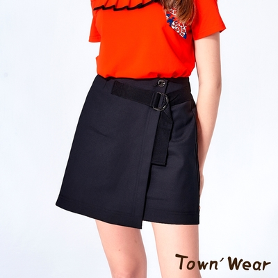 【TOWNWEAR棠葳】棉質腰帶扣環一片短裙-內裡小短褲
