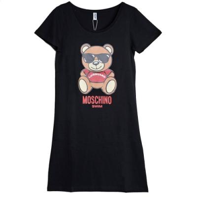 MOSCHINO TOY小熊字母LOGO圖騰100%棉質連身T恤(黑/S)