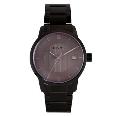 LOVME 紳士質感不鏽鋼日期窗手錶-IP黑x灰/43mm